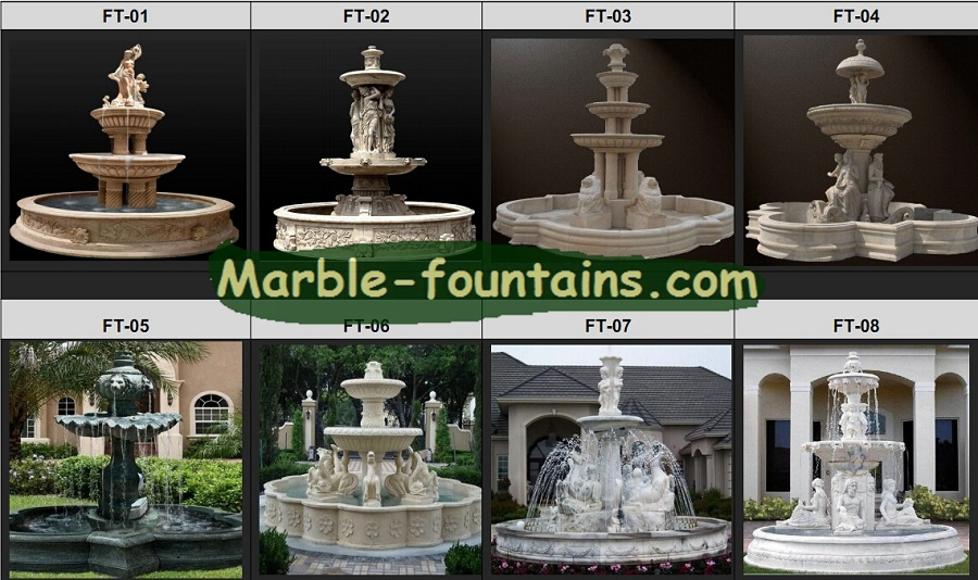 Marble Garden Fountains Waterfall Design Natural Stone Fountain Statues Of  Maiden In The Large Marble Clover Shape Water Pool  In Garden Ornaments  From Home ...