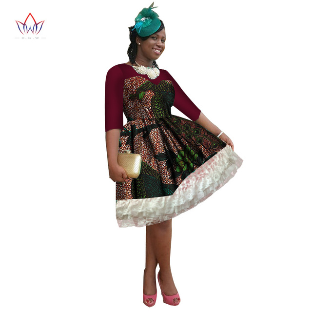 BRW 2018 Africa Dress For Women African Wax Print Dresses Dashiki Plus Size  Africa Style Clothing for Women Office Dress WY2249 3a0478990aeb