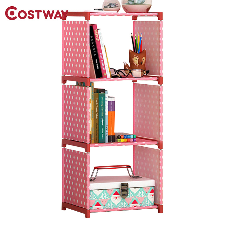 COSTWAY Fashion Simple Non-woven Bookshelves Three-layer Dormitory Bedroom Storage Shelves Bookcase Boekenkast Librero W0108 360 degree rotation simple bookshelves multi storey floor bookcase shelves children s dormitory shelter