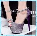 Moda paillette sapatos de casamento de verão mulher de salto alto peep toe bombas 2015 Sandals cinta senhoras tornozelo mulheres sapatos roxos D11