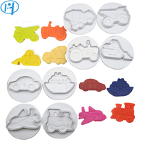 8pcs Car Plane Boat Train Engineering Truck Set Plastic Plunger Cutter Cookie Mold Embossing Cake Decorating