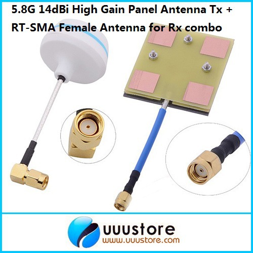 Antenne à Gain élevé de panneau de FPV 5.8 Ghz 5.8g 14dbi pour des Gains d'antenne femelle de Rx w/Angle RT-SMA pour Tx