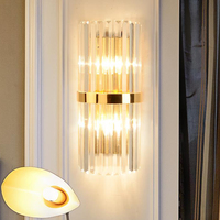 Modern LED crystal wall lamps Art Deco bedroom bedside crystal wall sconces corridor parlor TV backgound decorative porch lights