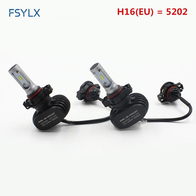 Fsylx H16 (ЕС) <font><b>5202</b></font> H16 (JP) h11 светодиодные лампы фар автомобиля светодиодные фары DRL Туман лампы Габаритные огни H16 автомобилей светодиодные фары