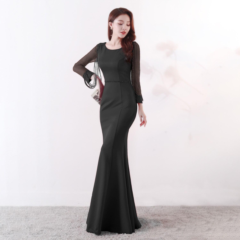 92e93a2e4e9 Corzzet Women Party Dress Black Long Sleeve Stransparent Rhinestone Chain Long  Mermaid Elegant Club Celebrity Party Dresses