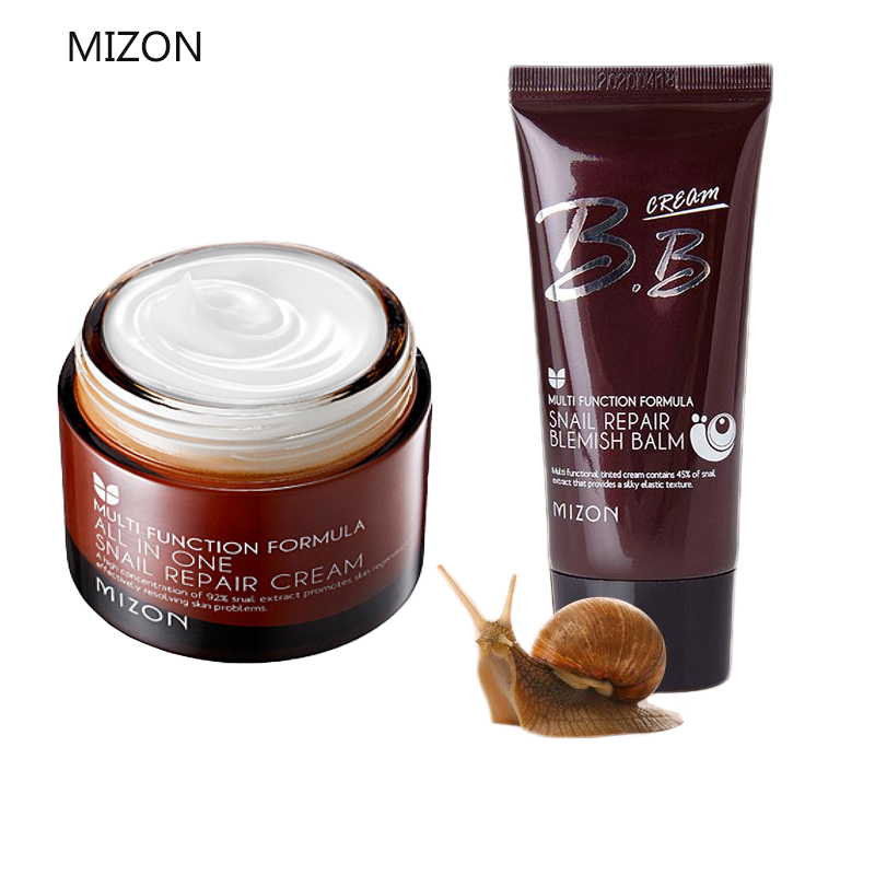 MIZON All In One Snail Repair Cream 50ml + MIZON Snail Repair Blemish Balm 50ml Face Lifting Firming Cream Best Korea Cosmetics mizon black snail all in one cream 75ml repair cream deep moisturizing anti wrinkle remover acne snail face cream korea cosmetic