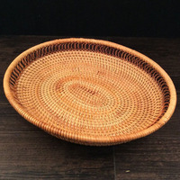 Rattan Fruit Basket Holder Kitchen Organization Dry Fruit Storage Basket Storage Trays Container Food Bread Snack