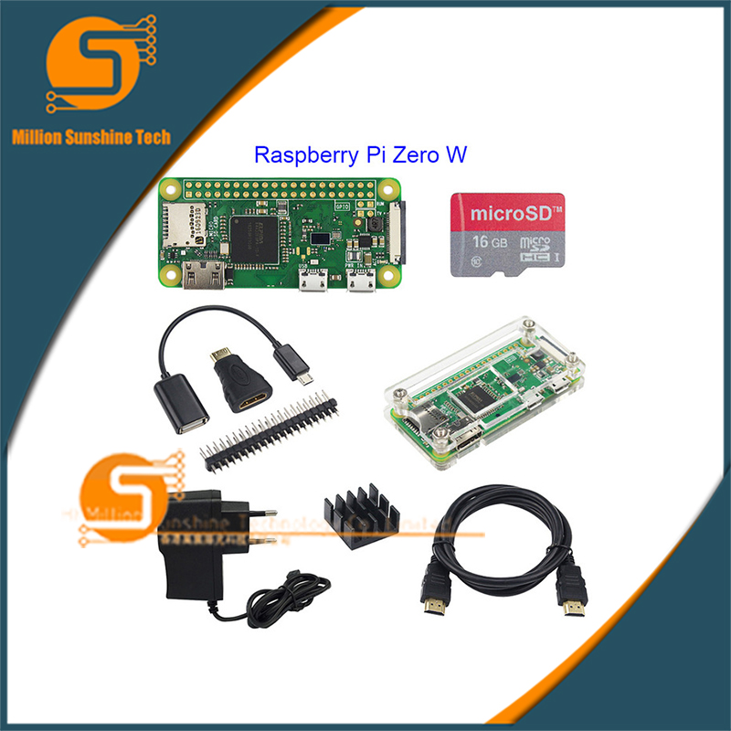 Raspberry Pi Zero Basic Starter Kit Raspberry Pi Zero Board +16G SD Card + Power Adapter +Acrylic Case + HDMI Cable