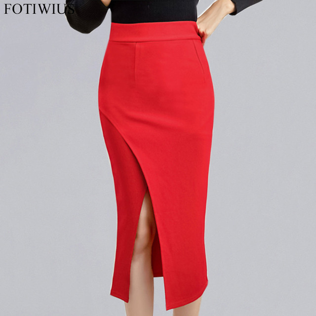 4XL 5XL Plus Size Women Clothing Red Black High Waist Skirts Womens High  Split Elegant Pencil Skirt Jupe Femme Faldas Mujer 2018 b7529f1735f0