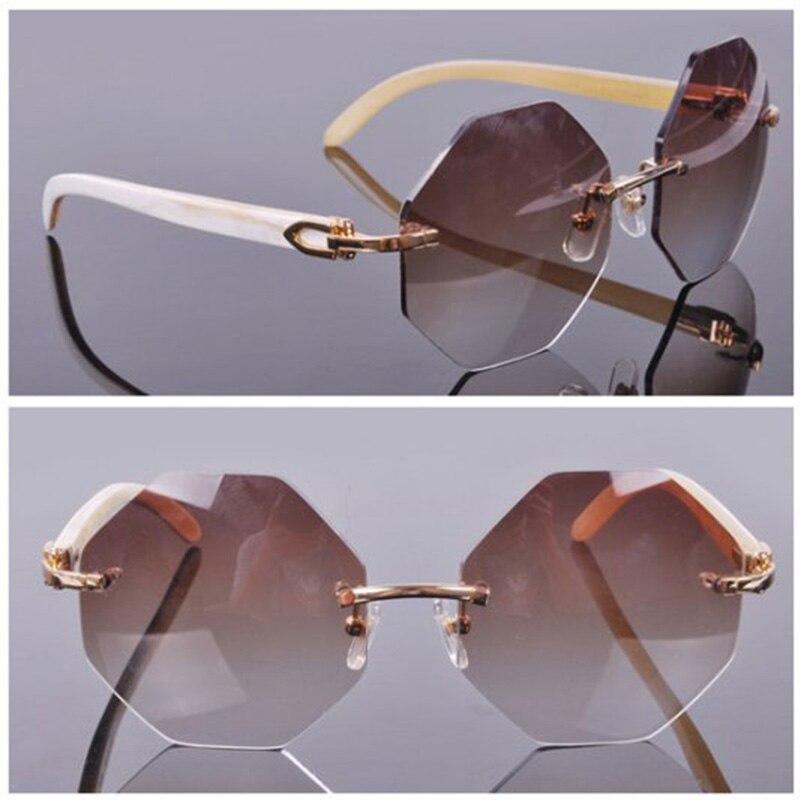 c6f5be4830f Fashion Popular Stylish Rimelss Custome Oversize Octagonal Lens Sunglasses  Nature Horn White Buffalo Sun Glass Men
