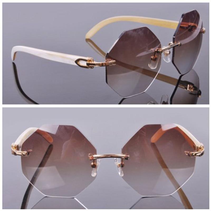 Mode populaire élégant Rimelss personnalisé surdimensionné octogonale lentille lunettes de soleil Nature corne blanc buffle soleil verre hommes ombre