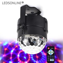 цена  Led Stage Lamp DJ KTV Disco Laser Light Party Lights Sound IR Remote Control Christmas Projector Mini RGB 3W Crystal Magic Ball онлайн в 2017 году