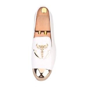 Image 3 - Piergitar 2019 מתכת הבוהן מתכת גולגולת אבזם גברים נעליים יומיומיות מסיבת חתונת גברים של פטנט עור somking נעלי בית