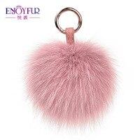 ENJOYFUR Real Fox Fur Pompom Keychains Fluffy Fur Ball For Women's Bag Jewelry Colorful Unisex Fur Pompom Key Rings