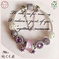 New Arrival European Famous Brand Gift Silver JewelryPurple Star And Pink Heart Charm Series 100% 925 Real Silver Charm Bracelet