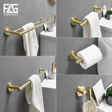FLG Gold bathroom accessories hardware Stainless Steel Toilet Paper Holder Tower Wall Mounted Bathroom Hardware Set