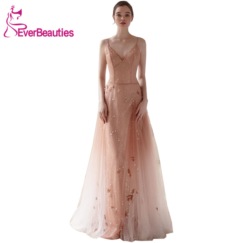 Evening     Dress   Long 2019 Sleevless Tulle Appliques Party   Dresses     Evening   Gowns Robe De Soiree Formal   Dresses
