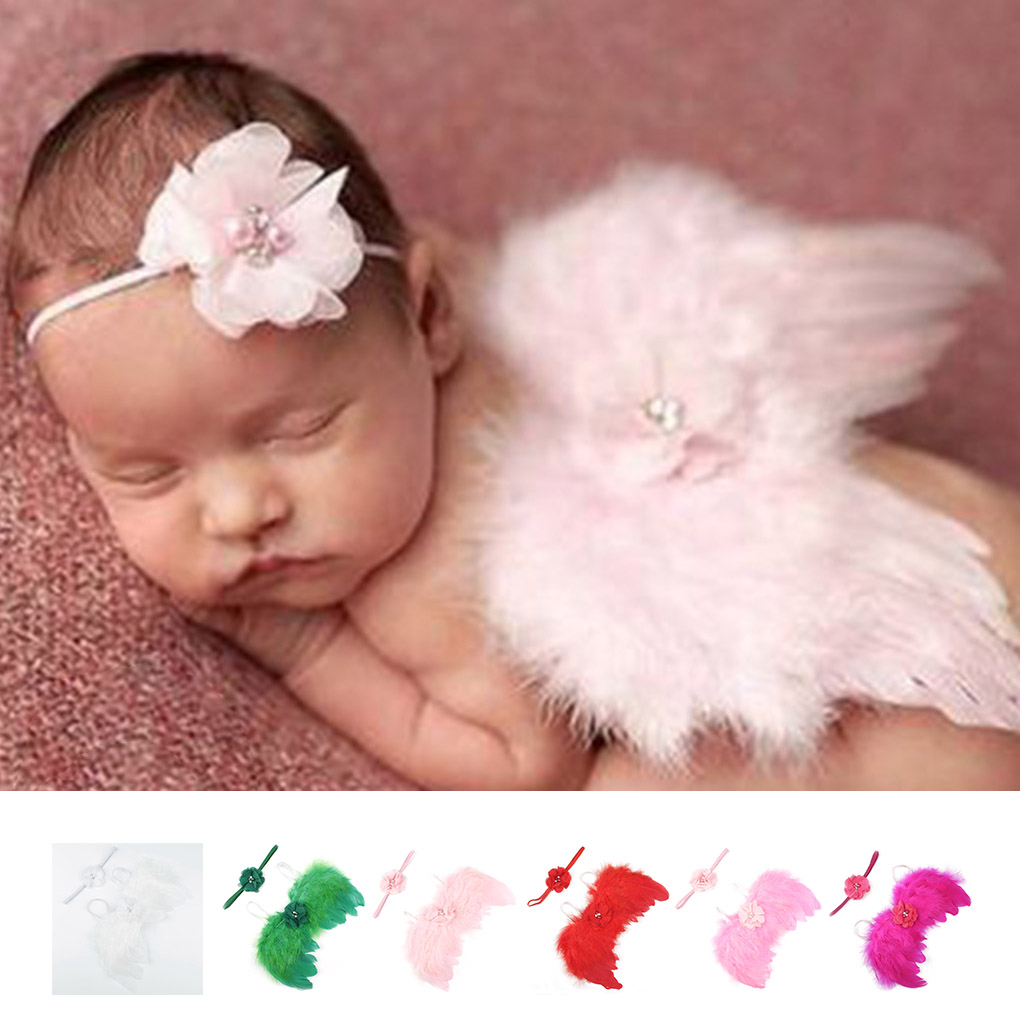 Baby Newborn Solid Color Angle Feather Wing And Flower Headband Photograph Prop Suit Infant Clothes Suit Baby Photo Props Wings