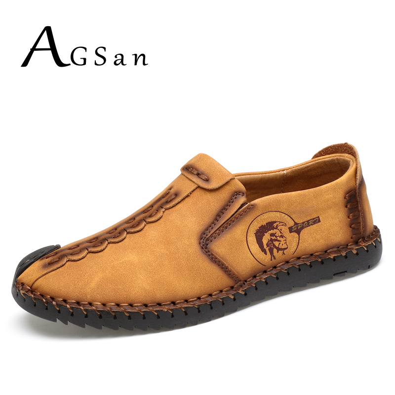 ФОТО AGSan men handmade italian casual shoes 2017 new arrival mens slip on flats zapatillas hombre yellow brown black loafers homme