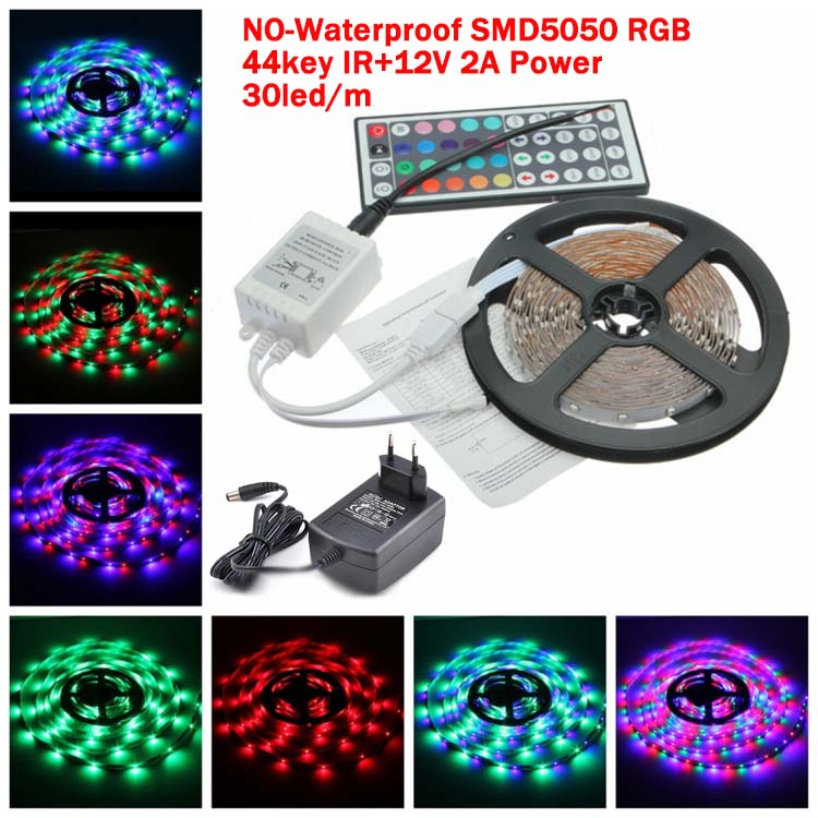 No Waterproof SMD 5050 RGB 30 led/m 150 LED 5M Strip Light epistar chip+44 Key Infrared IR+DC12V 2A Power supply free shipping