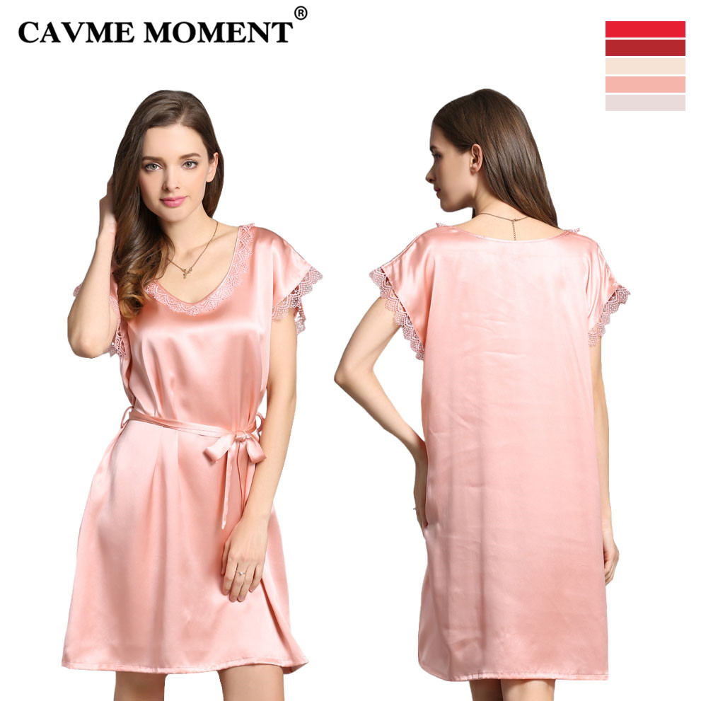 CAVME 2019 Summer Elegant Silk Lace   Nightgowns   Round Neck   Sleepshirts   One Pieces Short Sleeve Sleepwear Solid Color with Belt