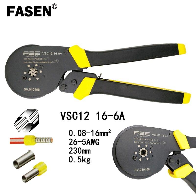 VSC12 26-5AWG 16-6A alicates de friso do hexágono 0.08-16mm2 para o tipo de tubo tipo agulha terminal de ajuste manual de ferramentas de alta precisão
