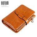 New Desinger Solid Coin Purse Top Quality oil waxing Genuine Leather Wallets Vintage Women Short Purse Coin Card Case Holder