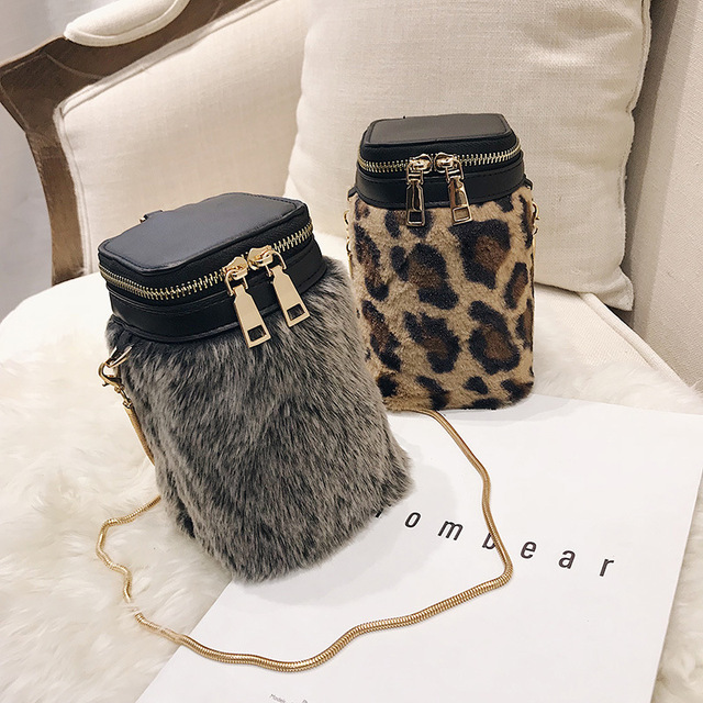 Women Shoulder Bucket Bags Leopard Print 2018 Fashion Ladies Tassel Crossbody  Bag Faux Fur Plush Cony cf984998a4380
