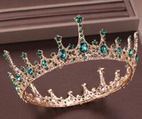 Green Crystal Rhinestone Tiara and Crown de Noiva Bride Round Queen Diadem Headpiece Wedding Bridal Hair Jewelry Accessories