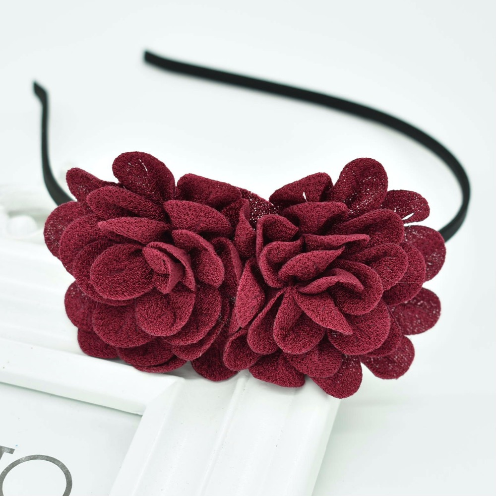New Children's Flower Headband Hollow Solid Color Accessories Gum For Hair Hair Band Girls Headbands
