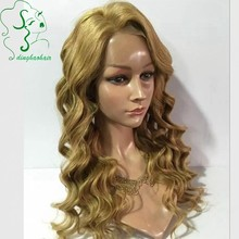 Brazilian virgin hair #27 blonde hair color glueless wavy lace front human hair wigs with natural hairline for black women