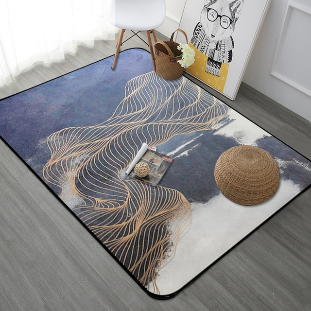 Nordic Style Golden Stripe Rectangle Tapete Thicken Soft Mat Modern Bedroom  Large Carpets Living Room Rugs