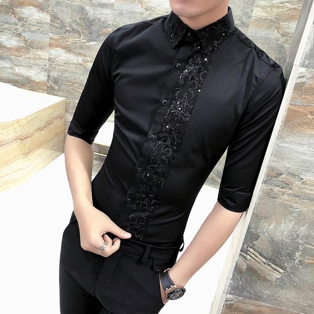 53b397b95fd British Style Men Shirt Spring Summer Men Clothes 2019 Half Sleeve Shirt  Men Sexy Lace Patchwork Casual Slim Fit Mens Shirts 3XL