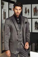 Latest Coat Pant Designs Smoking Grey Satin Men Suit Slim Fit 3 Piece Groom Tuxedo Custom Suits Prom Blazer Terno Masculino