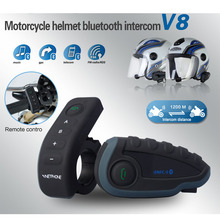 1200M Bluetooth Intercom Motorcycle Helmet Interphone Headset NFC Remote Control Full Duplex with FM