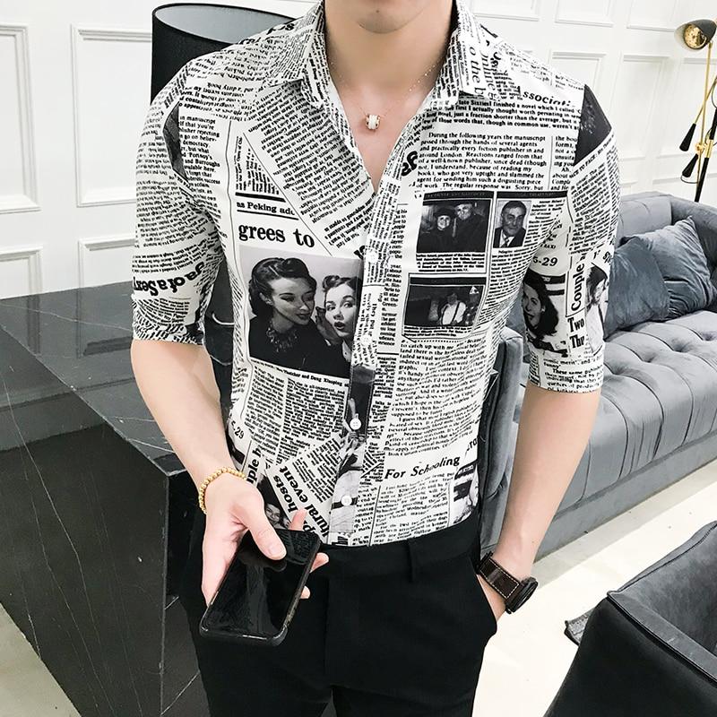 Qualität Sommer Tuxedo Herren Hemd Mode Designer Zeitung Druck Hemd Der Halben Hülse Der Dünnen Männer Social Party Abendkleid Hemd