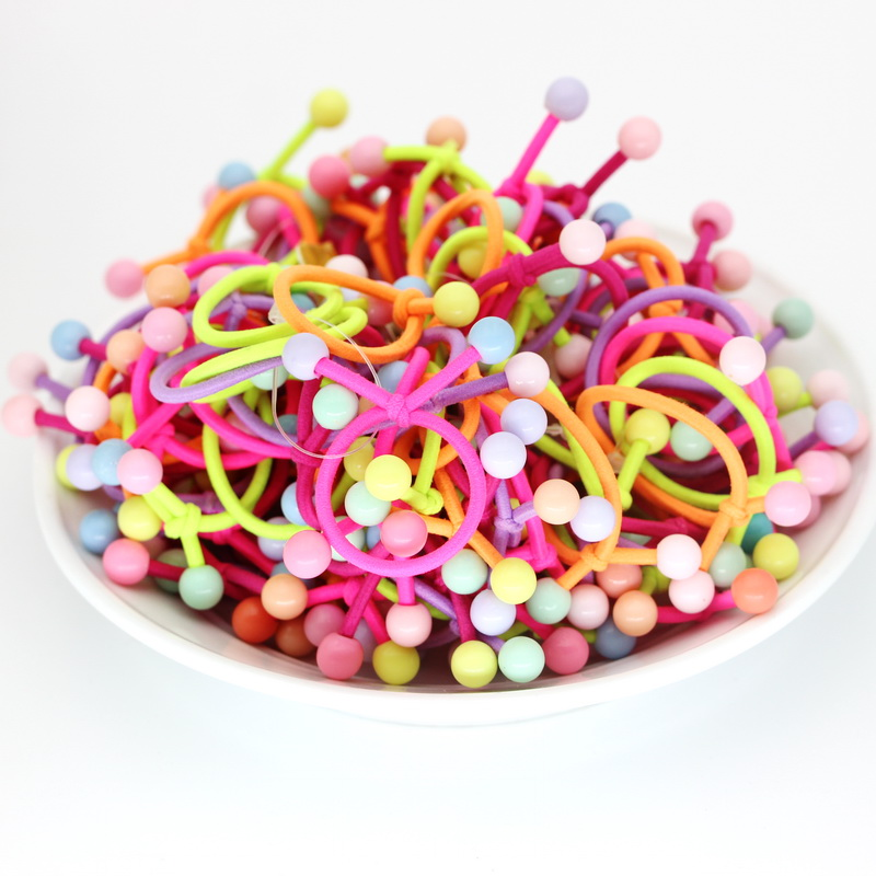 isnice 2 Ball Headwear 50pcs/lot Dia 28mm Rainbow Color Gum For Hair Rubber bands Small cute hair accessories girl ornaments