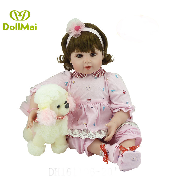 "DollMai real dolls 20"" vinyl silicone reborn baby dolls lifelike girl Bebes reborn menina boneca with dog plush gift dolls"