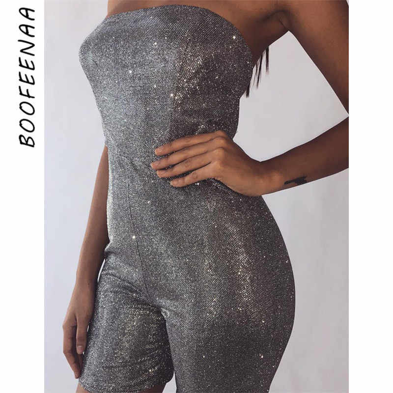 47211bf33a BOOFEENAA Silver Glitter Backless Short Sexy Rompers Women One Piece  Bodycon Jumpsuit Summer 2019 Playsuit Club Outfit C66-I40