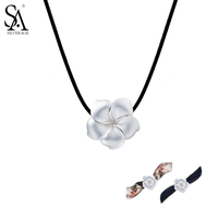 SA SILVERAGE 925 Sterling Silver Choker Flower Necklaces & Pendants for Women Collar Flower Leather Women Necklaces Party Gift
