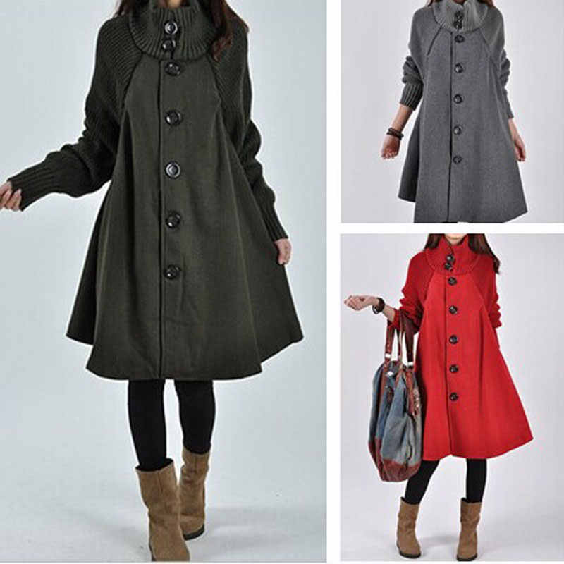 HEE GRAND 2019 Long Jackets Women Cape Overcoats Cloak Windbreaker Loose Winter Wool Trench Coat Autumn Manteau Femme WWN1203