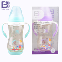 Fierbaby 300ml Wide Mouth Double Color Baby Auto Straw Feeding Bottle Newborn Baby Milk Bottle Can
