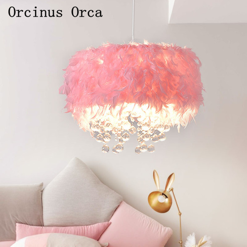 Nordic Modern Color Feather Chandelier Girl Bedroom Princess Room Children's Room Lamp Creative Pink LED Crystal Chandelier
