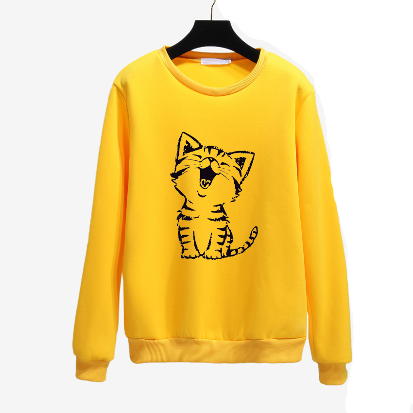 Cute Happy Cat Harajuku Hoodies Women Sweatshirt Autumn Winter Loose Pullover Camisola Feminina Long Sleeves Casual Coat O Neck