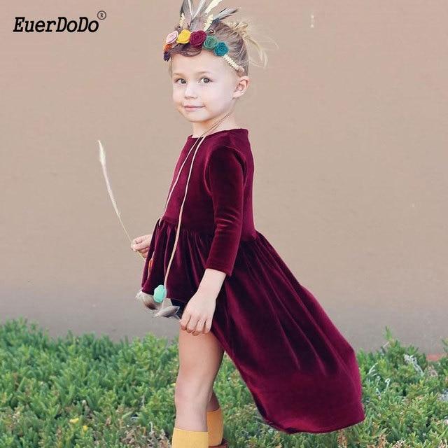95f03de8f339f Robe de filles en velours doré robe de princesse fille pourpre robes  d hiver pour