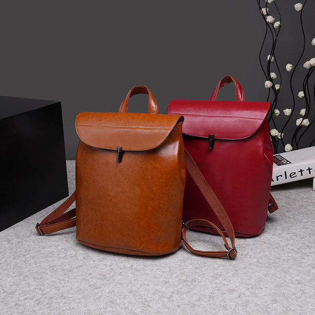 BANINIU Vintage oil wax PU Leather  trave Backpack School Bags For Teenagers Casual Brown backpack Women Mochila Sac A Dos Femme