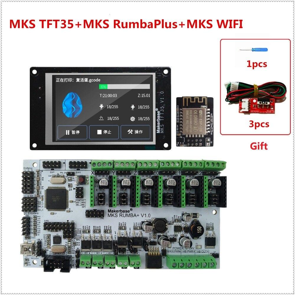 NOUVEAU 3d imprimante affichage MKS TFT35 écran tactile + MKS RumbaPlus + MKS WIFI moniteur FDM imprimante DIY kit TFT 35 LCD conseil RUMBA