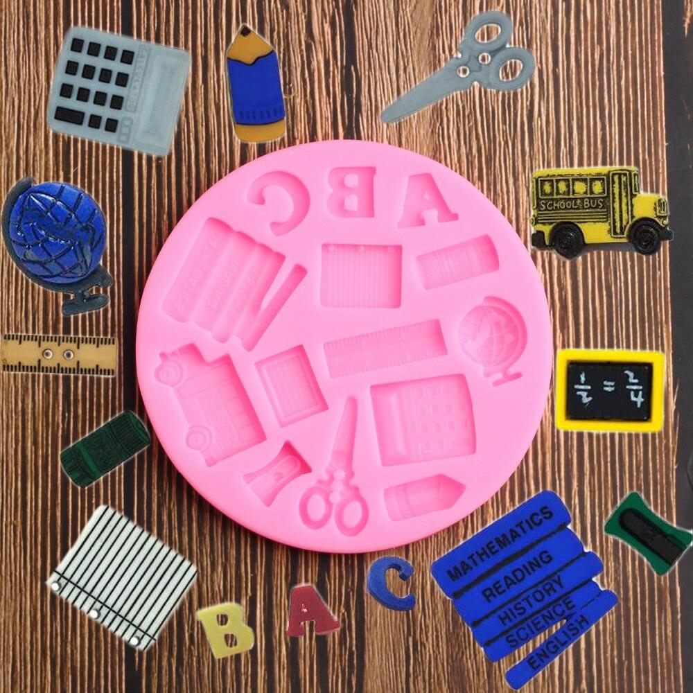 3d Boek Schaar Baby Auto Heerser School Pen Silicone Mold Sugar Ambachtelijke Fondant Chocolade Mallen Cake Decorating Gereedschap Bakvormen Supplement The Vital Energy And Yin