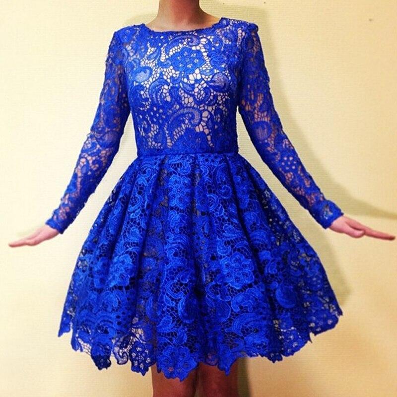 2017 Königsblau Spitze Homecoming Kleider Long Sleeves Short Graduation Dresses Nette Kleid Kleider Knielangen Süße 16 Weich Und Rutschhemmend