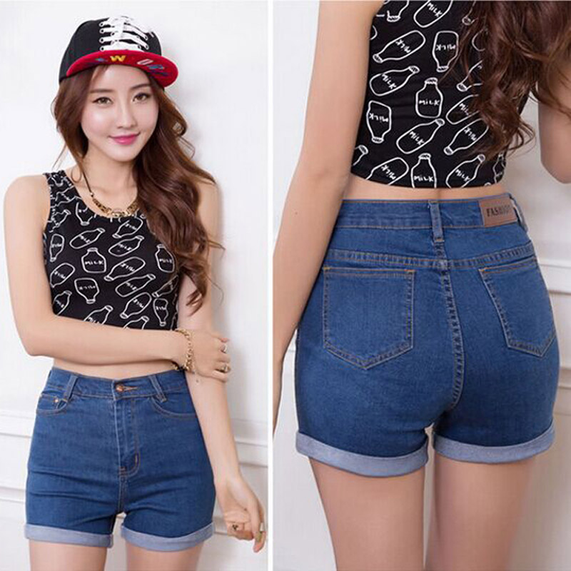 buy 2017 fashion summer denim high waist shorts woman jeans short pants slim. Black Bedroom Furniture Sets. Home Design Ideas